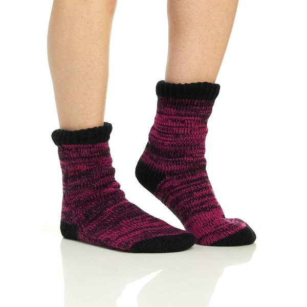 Capelli Women's Marled Slipper Sock With Grippers