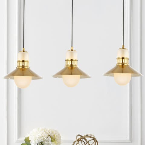 "JONATHAN Y Colin 3-Light 35"" Adjustable Iron/Glass Retro Hurricane Triple LED Pendant, Brass Gold"