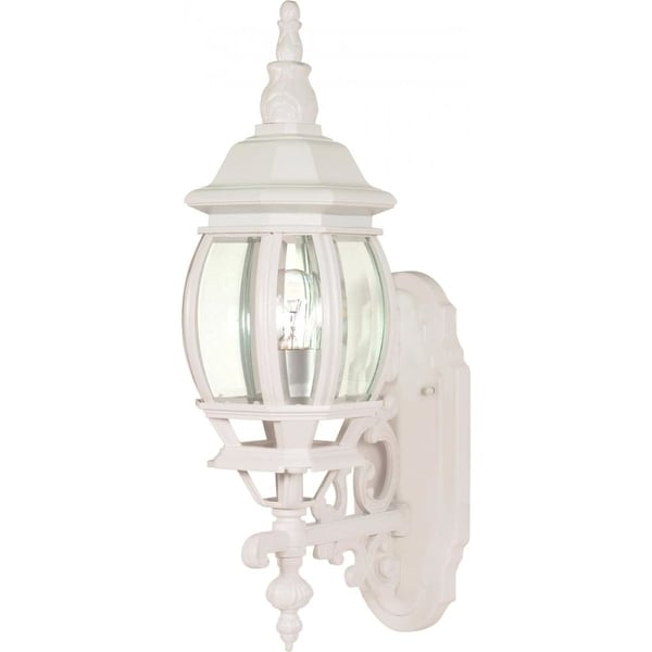 """Nuvo Lighting 60/885 Central Park 1-Light 20"""" Tall Outdoor Wall Sconce with Clear Glass Shade - ADA Compliant - White - N/A"""