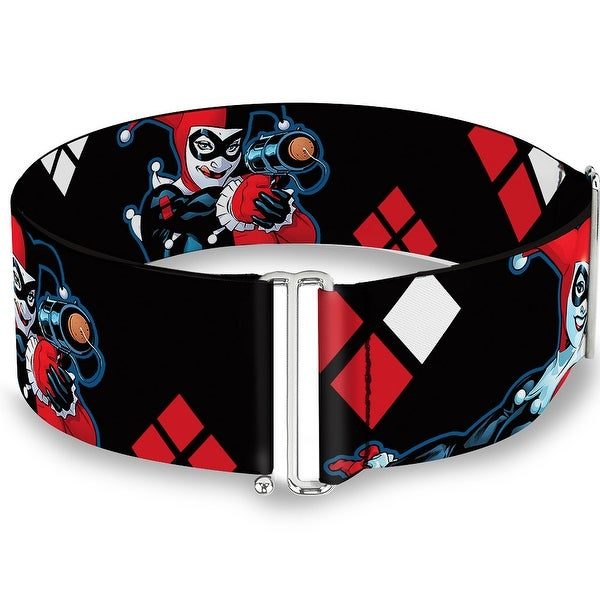Harley Quinn Shooting Poses Diamonds Black Red White Cinch Waist Belt ONE SIZE