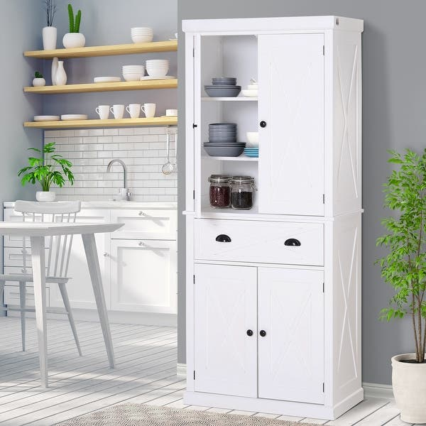 Homcom 6ft Wood Farmhouse Colonial Kitchen Pantry Cabinet With 4 Adjustable Shelves 2 Wood Pantries 1 Drawer On Sale Overstock 30696531