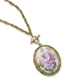 Goldtone Pink Flower Decal Locket Necklace - 30in
