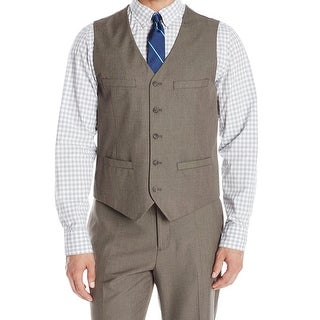 Perry Ellis NEW Chinchilla Brown Mens Size Medium M Seamed Suit Vest