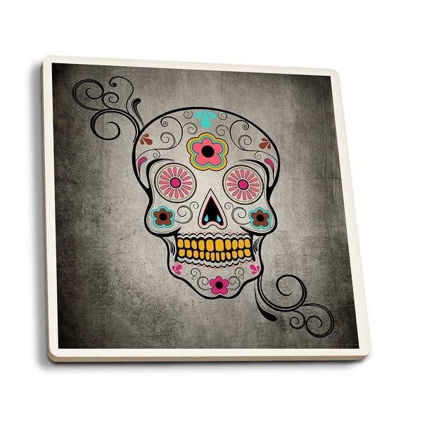 Sugar Skull - LP Artwork (Set of 4 Ceramic Coasters - Cork-backed, Absorbent)
