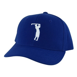 CapRobot Golfer Swing Mid Crown Curved Brim Adjustable Snapback Cap Hat - Blue White