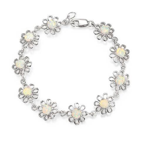 Daisy Flower Created Opal Link Bracelet 925 Silver October Birthstone
