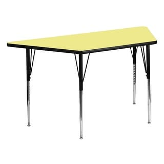 Offex 30''W x 60''L Trapezoid Activity Table with Yellow Thermal Fused Laminate Top and Standard Height Adjustable Legs