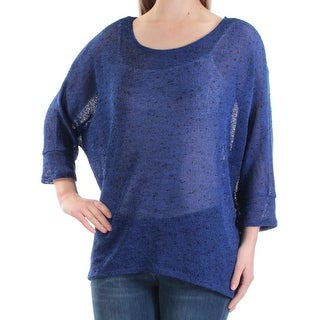 ALFANI $49 Women New 1415 Blue Black Speckle Jewel Neck 3/4 Sleeve Sweater M B+B