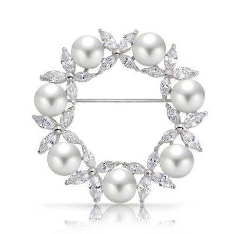 Bling Jewelry White Imitation Pearl Marquise CZ Wreath Brooch Pin Rhodium Plated