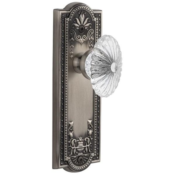 Grandeur PARBUR_SD_NA Parthenon Solid Brass Rose Single Dummy Door Knob with Burgundy Crystal Knob