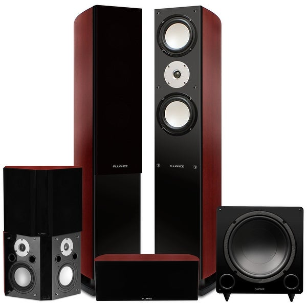 Fluance Reference Series Surround Sound Home Theater 5.1 Channel System, with Bipolar Speakers - Mahogany (XL51MB)