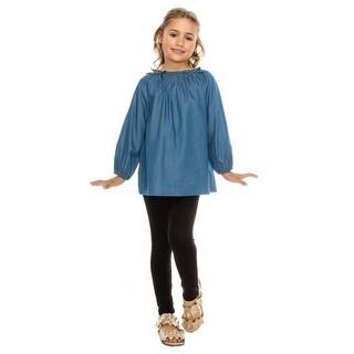 Aaron & Amber Little Girls Blue Denim Gathered Neck Long Sleeve Shirt