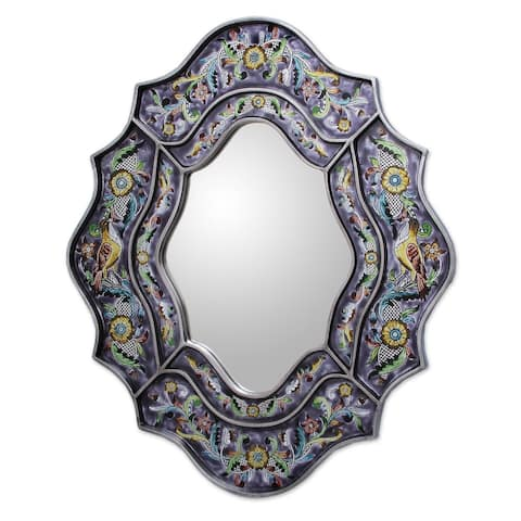 "Handmade Reverse Painted Glass Spring Violets Wall Mirror (Peru) - 9.75"" W x 13.25"" H"