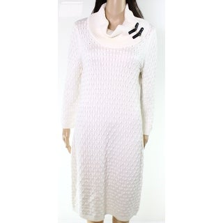 Calvin Klein NEW Ivory Womens Size Large L Cowl Neck Knit Sweater Dress