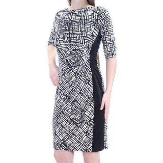 RALPH LAUREN $140 Womens New 1124 Black Geometric 3/4 Sleeve Sheath Dress 2 B+B