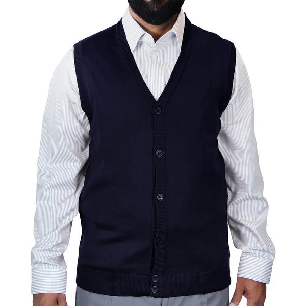 Big and Tall Solid Color Cardigan Sweater Vest (SV-200BM)