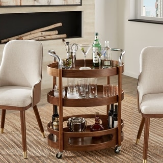 Link to Haylee Walnut Finish Oval Bar Cart by iNSPIRE Q Modern Similar Items in Home Bars