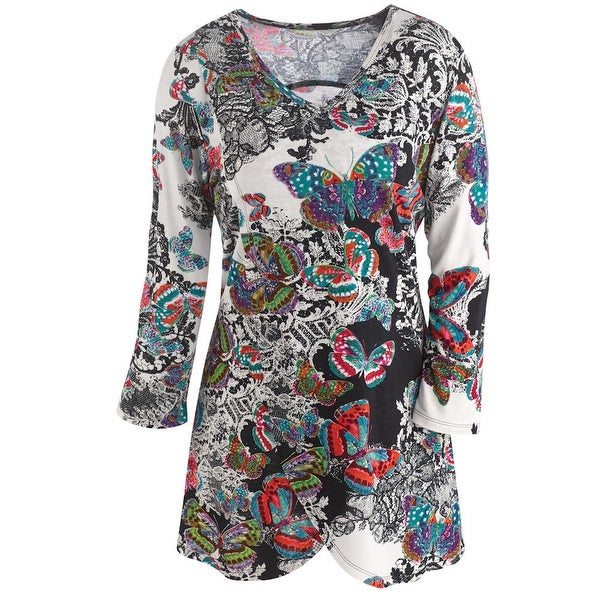 Women's Tunic Top - Butterfly Kisses Printed 3/4 Sleeve V-Neck Blouse