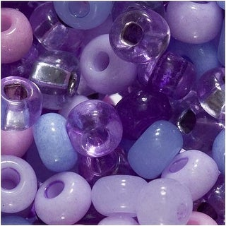 Czech Seed Beads 6/0 'Purple Parasols' Lot Mix 1 Ounce