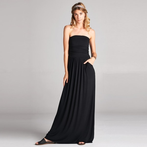 4c46c7bec7 Shop Atlantis Strapless Maxi Dress With Pockets In 6 Colors - Free ...
