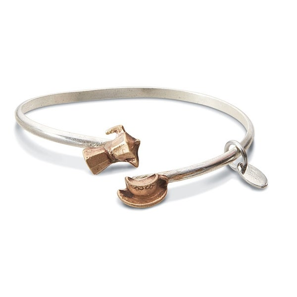 Women's Twice The Charm Sterling Silver And Bronze Bracelet - Coffee/Cup
