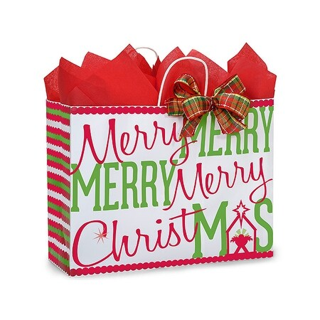 """Pack of 25, Vogue Merry Christmas Manger 16 X 6 X 12.5"""" For Christmas Packaging, 100% Recyclable, Made In Usa"""