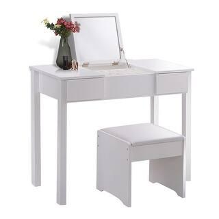 vanity table. Costway White Vanity Dressing Table Set Mirrored Bathroom Furniture W Stool  Storage Box At Overstock