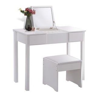 Costway White Vanity Dressing Table Set Mirrored Bathroom Furniture W/Stool  U0026Storage Box