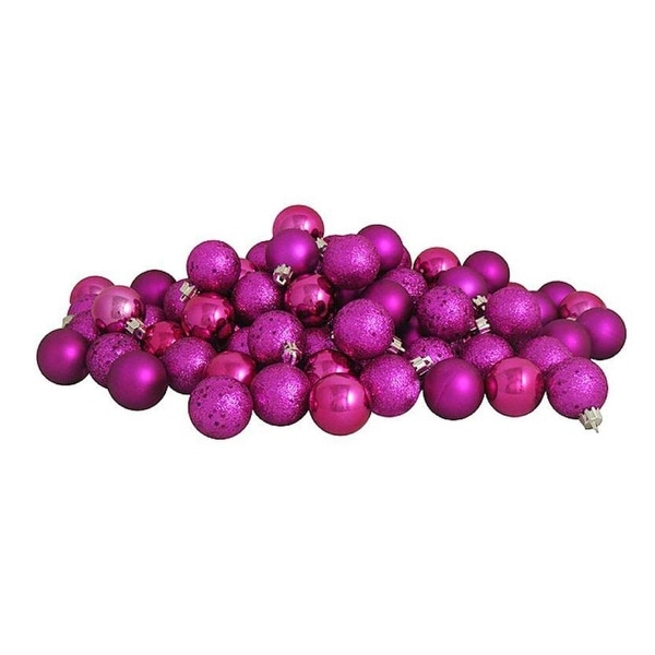 "60ct Light Magenta Pink Shatterproof 4-Finish Christmas Ball Ornaments 2.5"" (60mm)"