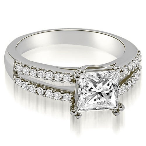 0.96 cttw. 14K White Gold Princess Split Shank Diamond Engagement Ring