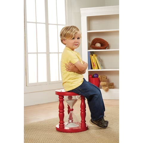 Time Out Stool for Children - Red Wooden Hourglass for Approximately 10-15 Minute Time Outs - 11 in. x 11 in. x 14 in.