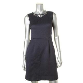 Tahari ASL Womens Petites Kristine Wear to Work Dress Jacquard Rhinestone - 2p