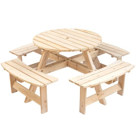 Wooden Outdoor Patio Garden Round Picnic Table with Bench, 8 Person- Natural