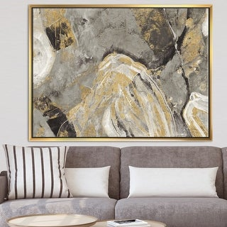 Link to Designart 'Painted Gold Stone' Cabin & Lodge Framed Canvas - Grey Similar Items in Canvas Art