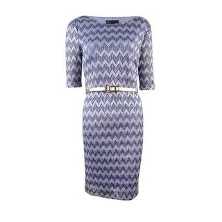 Connected Women's Metallic Chevron Lace Dress