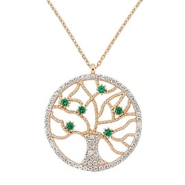 Amorium Tree of Life Pendant Necklace in 18K Rose Gold Plated Sterling Silver