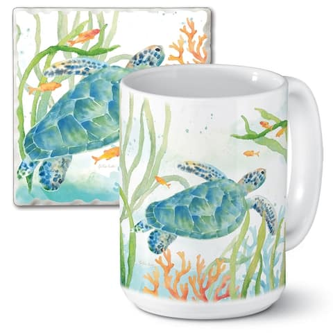 Counterart 15 Oz Ceramic Mug & Absorbent Stone Coaster Gift Set - Sea Life Serenade - 9x6x4.004