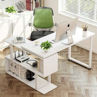 "Modern L-Shaped Desk, 55"" Rotating Corner Computer Desk Study Writing Table Workstation with Shelves for Home Office Use"