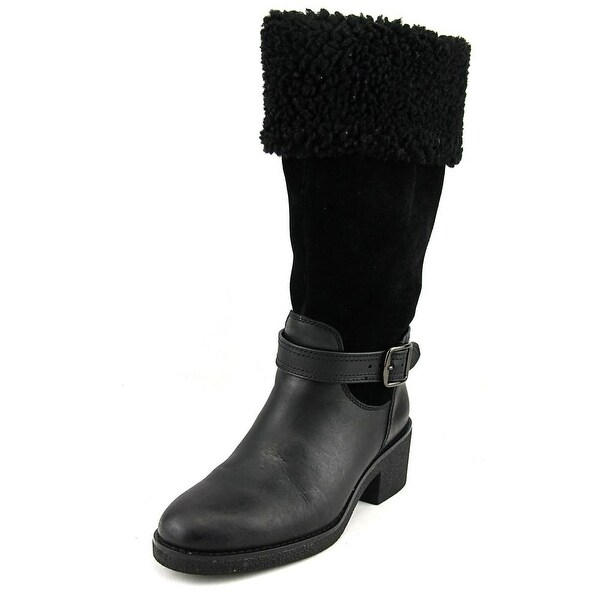 Coach Parka Women Round Toe Leather Black Mid Calf Boot