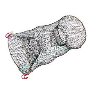 "Unique Bargains 9.8"" x 17.3"" Fishing Landing Net Fish Angler Mesh Keepnet Crawfish Shrimp Black Green Silver Tone"