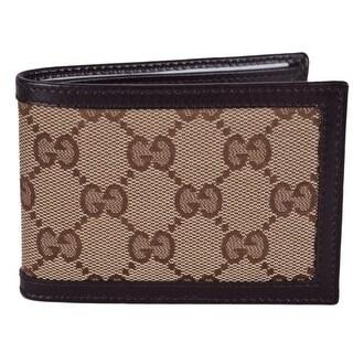 Gucci Men's GG Guccissima Beige Brown Canvas Mini Bifold Wallet