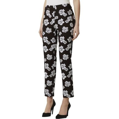 Tahari ASL Womens Dress Pants Jacquard Floral - Floral Black