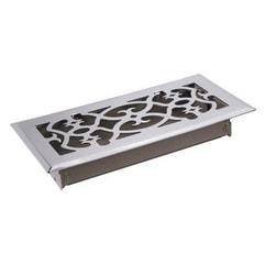 """TA Industries C164-OSN 04X12 Scroll Floor Register, 4"""" x 12"""", Satin Nickel"""