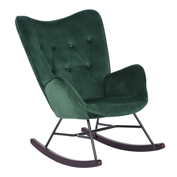Carson Carrington Velvet Upholostered Rocker Accent Chair. Opens flyout.