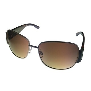Ellen Tracy Womens Sunglass Gold Metal Rectangle, Brown Gradient Lens 512 1 - Medium