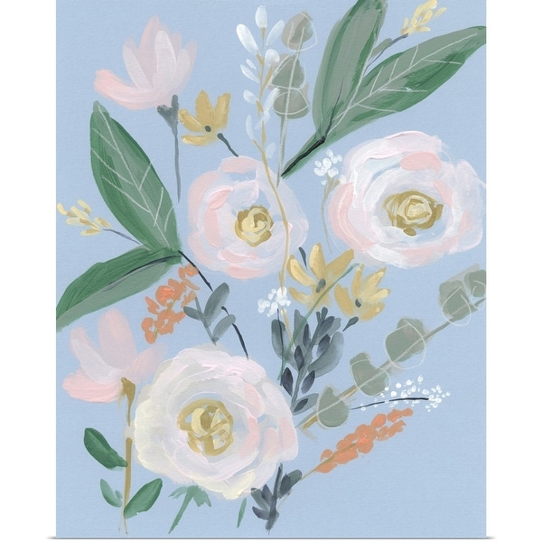 """Spring Bouquet on Blue II"" Poster Print"