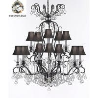 Wrought Iron & Crystal Chandelier With Black Shades