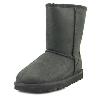 Ugg Australia Classic Short  Women  Round Toe Suede Black Winter Boot