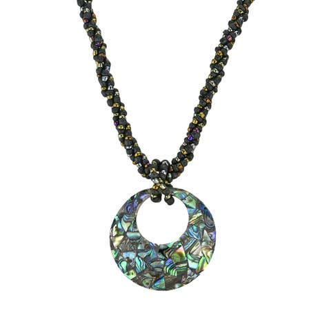Handmade Stylish Abalone Shell Medallion Twisted Beads Statement Necklace (Thailand)