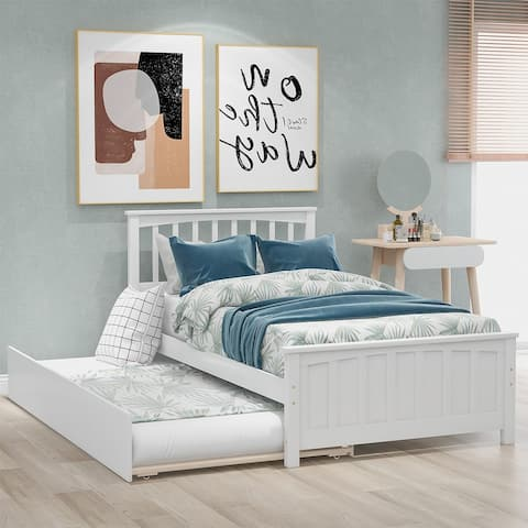 Merax Twin-size Platform Bed with a Trundle